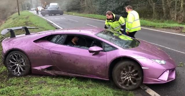 В Лондоне нашли оставленную в кювете Lamborghini Всячина