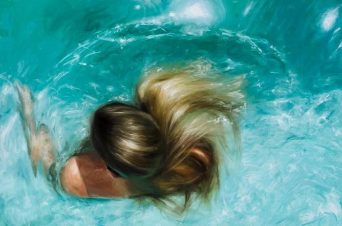 В воде и под водой. Художник Reisha Perlmutter Живопись