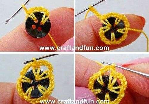 Вот такие цветочки можно связать крючком из пуговиц. Интересная идея для декора. handmake