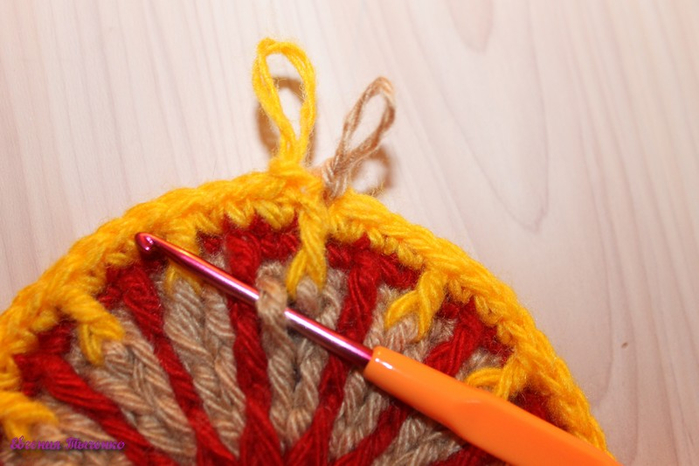 Коврик-сидушка: мастер-класс. Из остатков пряжи вязание